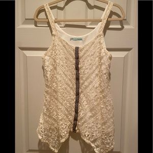 Maurice's cream lace tank top large